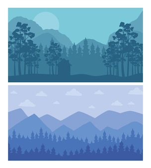 Forest and mountains abstract landscapes scenes backgrounds