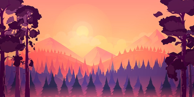 Forest and mountains landscape background