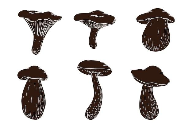 森のきのこシルエットセット。食用キノココレクション。白いキノコ、ベニタケ、ポルチーニ、アンズタケ。ロゴ、メニュー、印刷、ステッカー、デザイン、装飾のベクトルイラスト。プレミアムベクトル