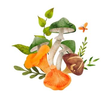 Лесные грибы рисованной векторные акварельные иллюстрации