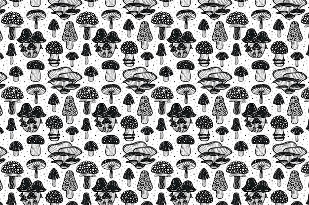 森のきのこ。パターン。黒のモノクロデザイン。