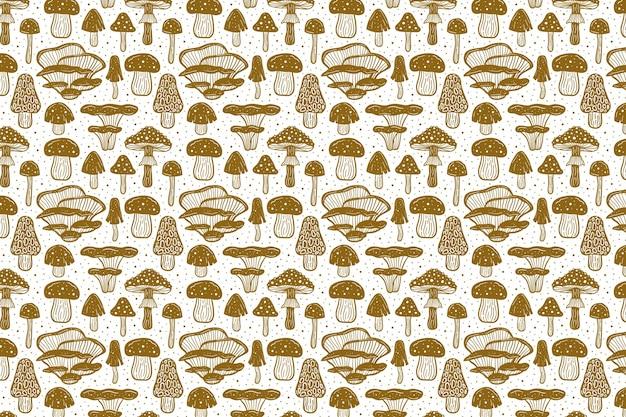 森のきのこ。パターン。ゴールデンモノクロデザイン。