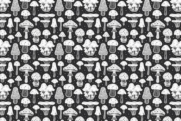 森のきのこ。パターン。インクデザイン