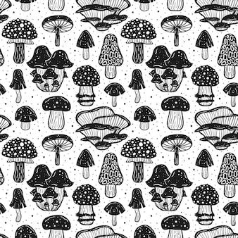 森のキノコ。シームレスパターン