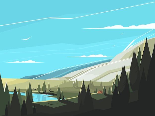 숲 자연 풍경. 깨끗한 호수가있는 고요한 나무가 우거진 지역. 삽화