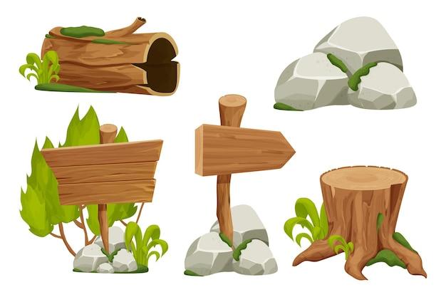 Лесные элементы природы пейзаж с вывеской, пень, старый ствол, каменная свая и мох в c Premium векторы