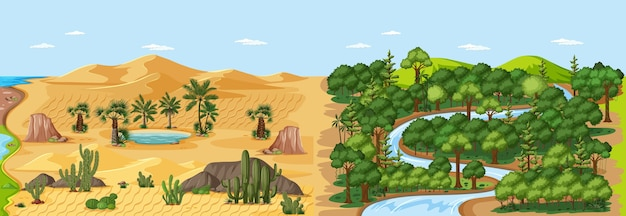 Forest nature landscape scene and desert with oasis landscape scene