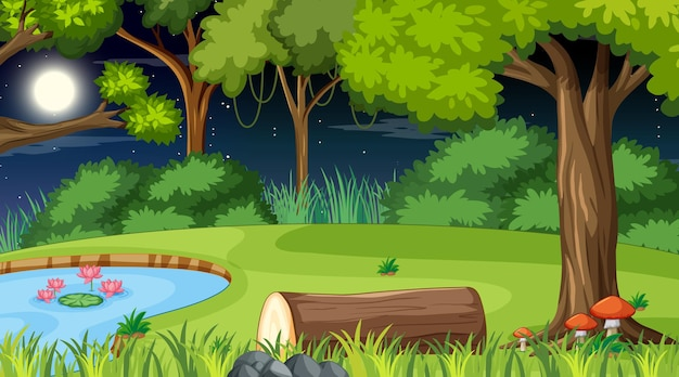 Scena della natura della foresta con laghetto e molti alberi di notte