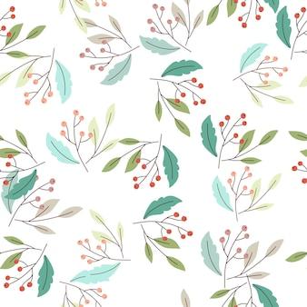 シンプルなベリーの枝飾りと森の自然のシームレスなパターン
