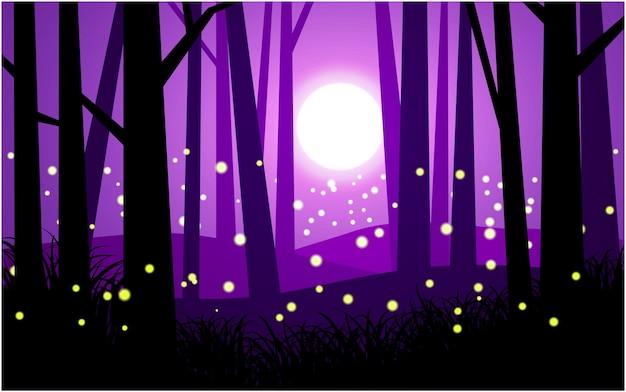 Лесной ночной пейзаж в лесу со светлячками