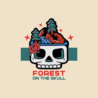 頭蓋骨のヴィンテージスタイルのキャラクターの森