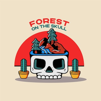 Лес на черепе винтажном стиле персонажа