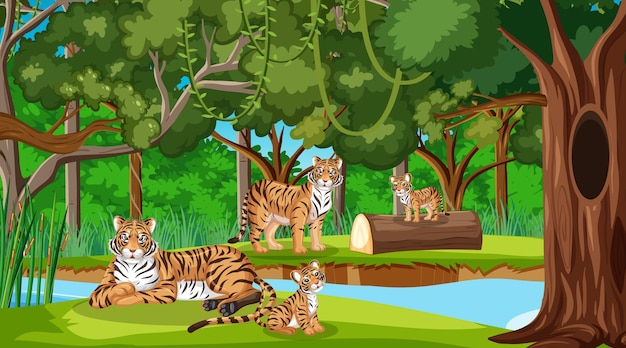 호랑이 가족이 있는 숲이나 열대우림 장면