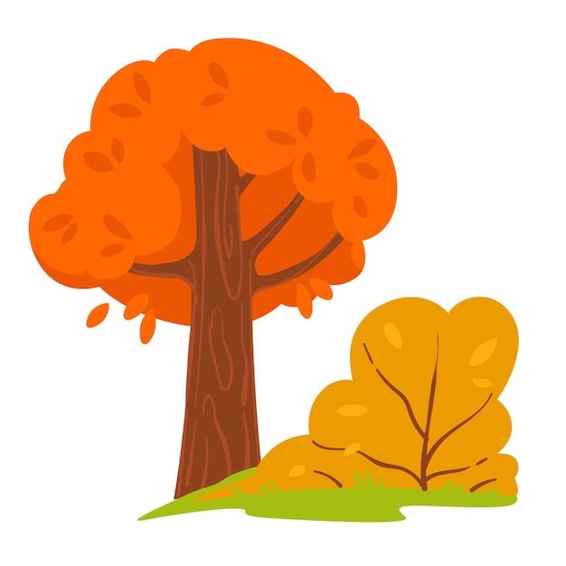 가을의 숲이나 숲, 가을 시즌 풍경, 고립된 나무와 마른 잎이 있는 덤불. 공원, 낙엽수 및 푸른 잔디의 아름다운 계절 전망. 평면에서 10월 또는 11월 벡터
