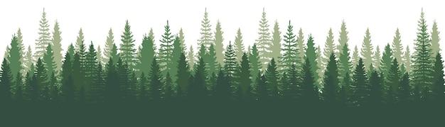 숲 파노라마보기. 소나무. 가문비 나무 자연 풍경. 숲 배경. 소나무, 가문비 나무 및 흰색 바탕에 크리스마스 트리 집합입니다. 실루엣 숲 배경입니다. 벡터 일러스트 레이 션