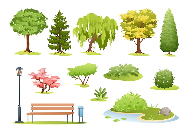 Forest and park trees. cartoon trees, bushes with flowers, fern and park