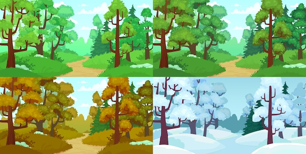 Forest path in different seasons: summer, spring, autumn and winter