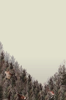 Forest pattern border vector with blank space on beige background