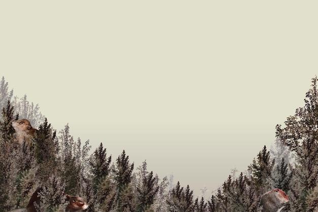 ベージュの背景に空白の森のパターンの境界線ベクトル