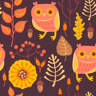 Forest pattern with owls.