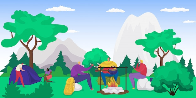 Forest picnic with campfire, people eating on nature on vacation, tourism in summer, hiking with tent in mountains   illustration. hiking and camping recreation, camp picnic in forest.