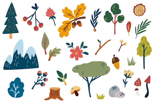 삼림 식물 요소 손으로 그리는 꽃 산 삼림 지대 나무 대마 잎 허브