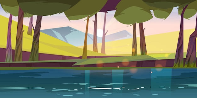 Лесной пруд, природный ландшафт, спокойное озеро или река под зелеными деревьями и скалами ранним розовым утром. дикие красивые пейзажи, летний лес на фоне мультфильма восхода солнца, векторная иллюстрация