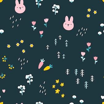 森のウサギのシームレスなパターン。