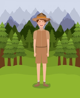 Forest ranger boy cartoon