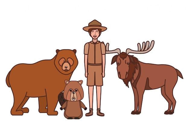 Forest ranger boy cartoon