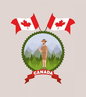 Forest ranger man cartoon and canada