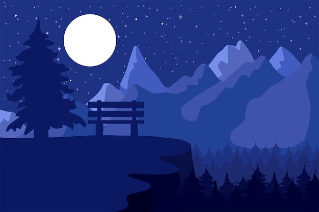 달 아래 산 근처 침엽수 림 밤에 삼림 보호 구역과 공원. 벡터
