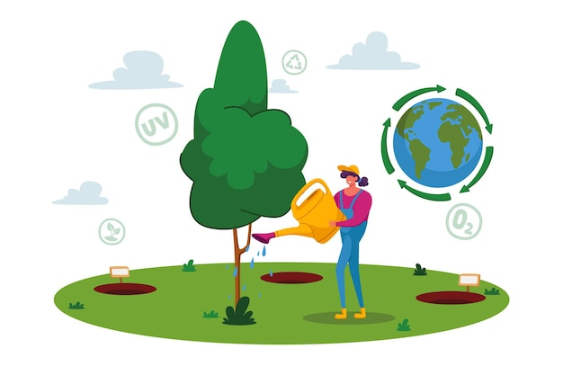 Forest restoration, reforestation and planting new trees concept