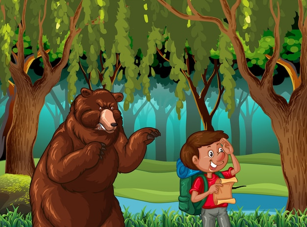 Forest scene background with hiker and bear