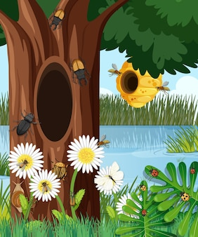 Лесная сцена с пчелиным ульем и другими насекомыми