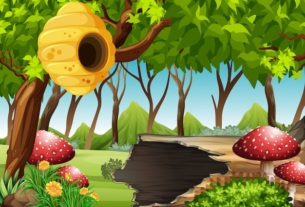 Forest scene with beehive and mushroom