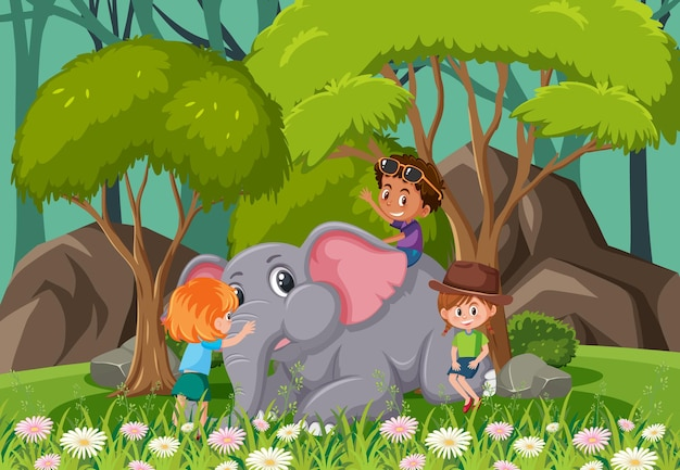 Forest scene with children playing with an elephant