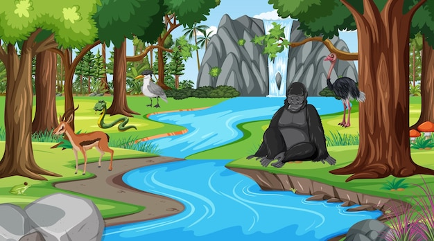 다른 야생 동물과 숲 현장