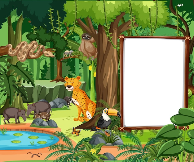 Forest scene with empty banner and many wild animals