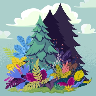 Forest scene with fir-tree and plants around. vector illustration in cartoon style.