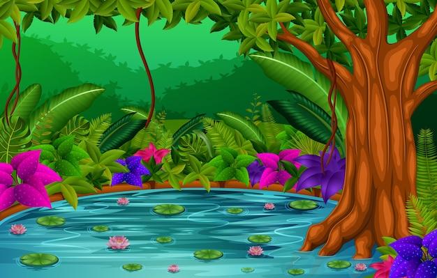 湖の森の風景