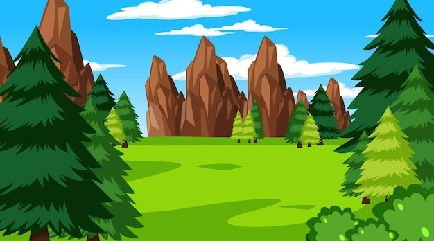 Forest scene with various forest trees and cliff background