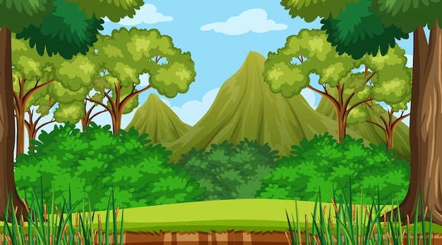 Forest scene with various forest trees and mountain background