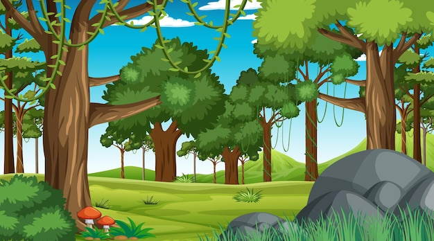 Forest scene with various forest trees and
