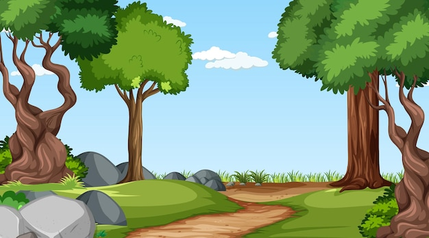 さまざまな森の木々のある森のシーン 無料ベクター