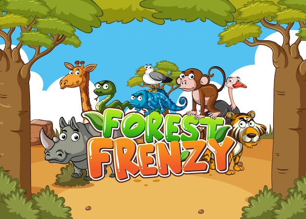 Forest scene with word forest frenzy and wild animals