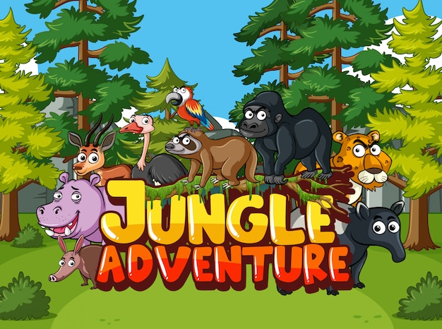 Forest scene with word jungle adventure and wild animals in background