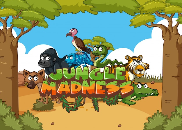 Forest scene with word jungle madness with wild animals in background