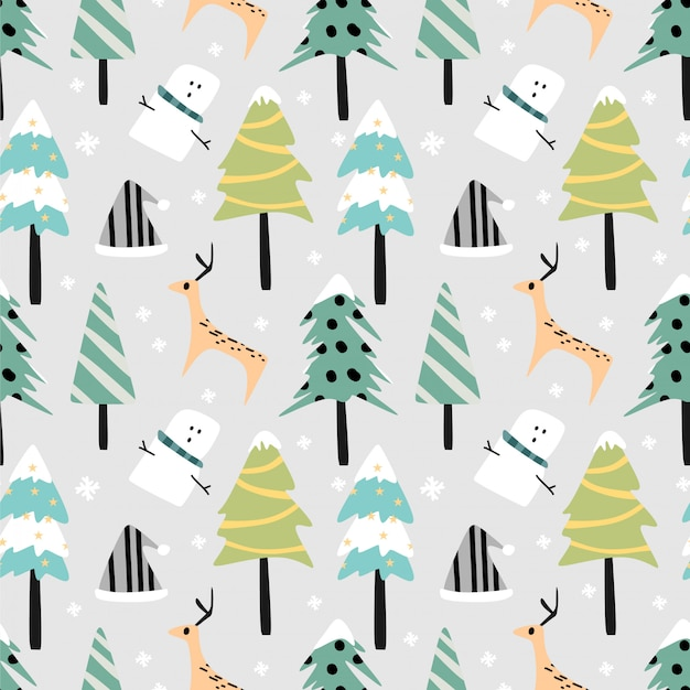 Forest scenery christmas seamless pattern pastel colors