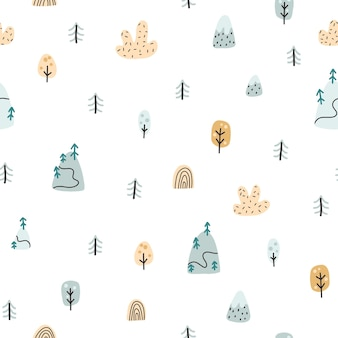 森のシームレスなパターン。シンプルな子供っぽい手描きの落書き漫画スカンジナビアスタイルの山、木、クリスマスツリーのある風景。ベビー服、テキスタイルに最適な素朴なベクトルの背景